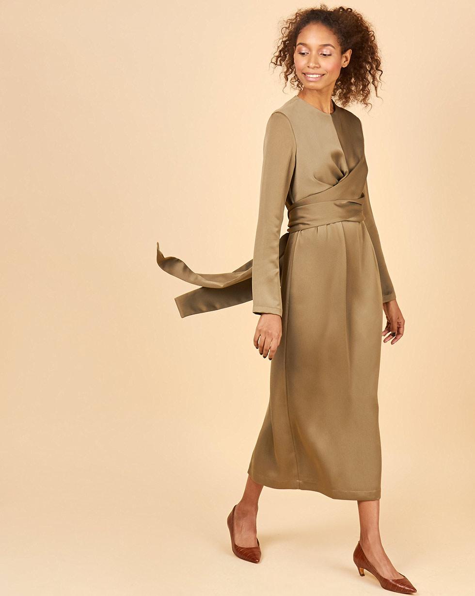 12Storeez Платье миди с завязками на талии (хаки)