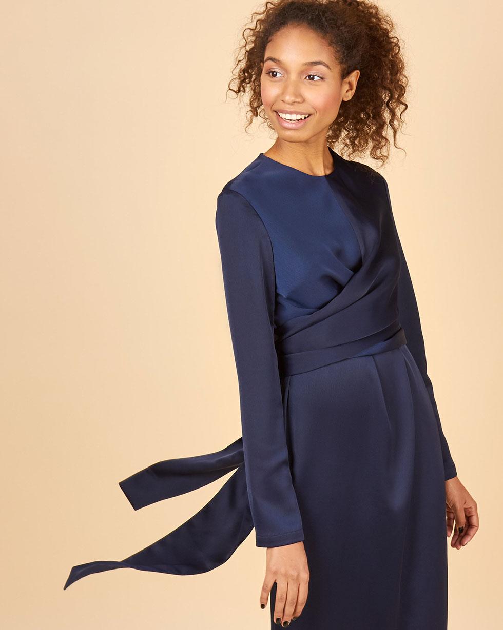 12Storeez Платье миди с завязками на талии (темно-синий)