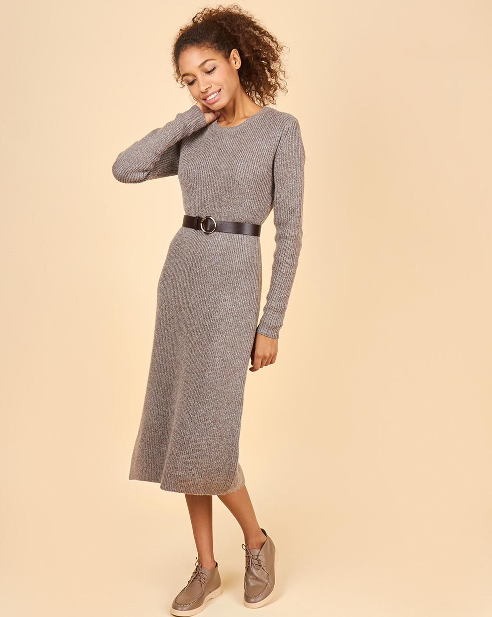 12Storeez Платье миди из шерсти меланж (коричневый/серый) платье miata серый 48 размер