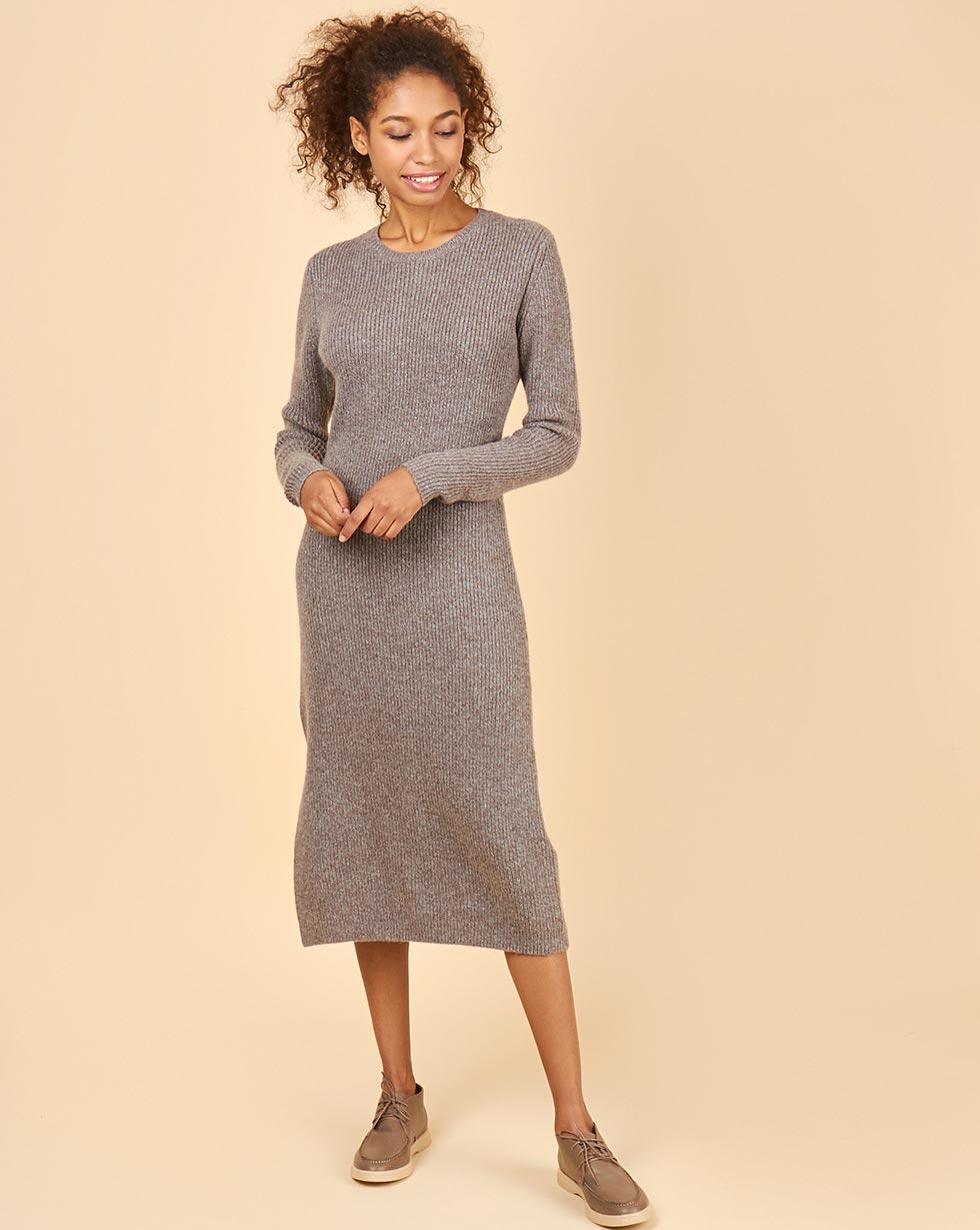 12Storeez Платье миди из шерсти меланж (коричневый/серый)