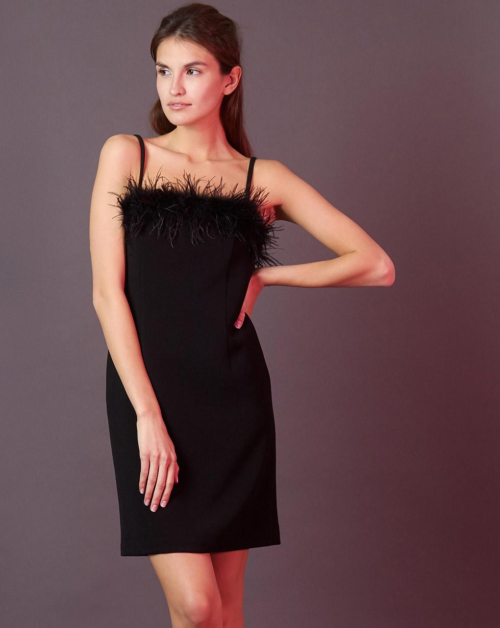 12Storeez Платье мини с боа (чёрный) боа синее