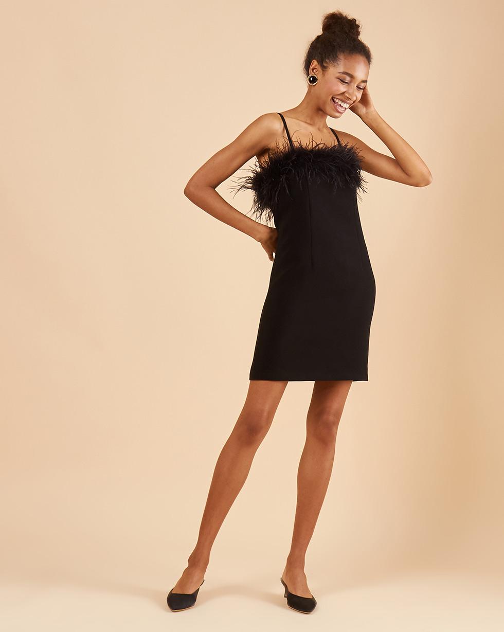 12Storeez Платье мини с боа (чёрный)