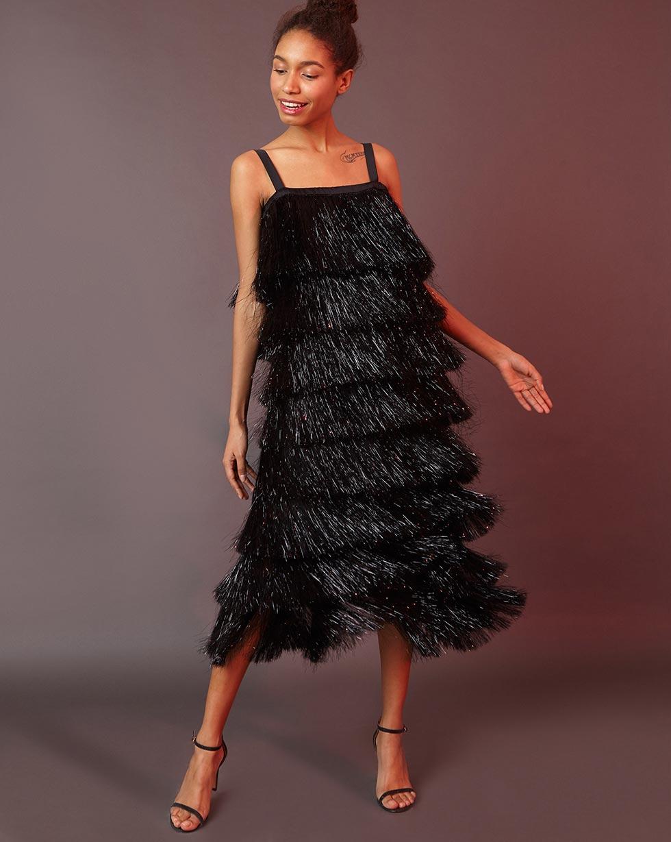 12Storeez Платье миди из бахромы (чёрный)