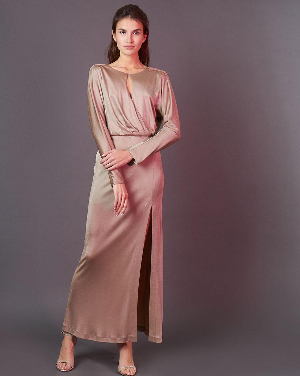 12Storeez Платье макси с разрезом сбоку (бежевый)