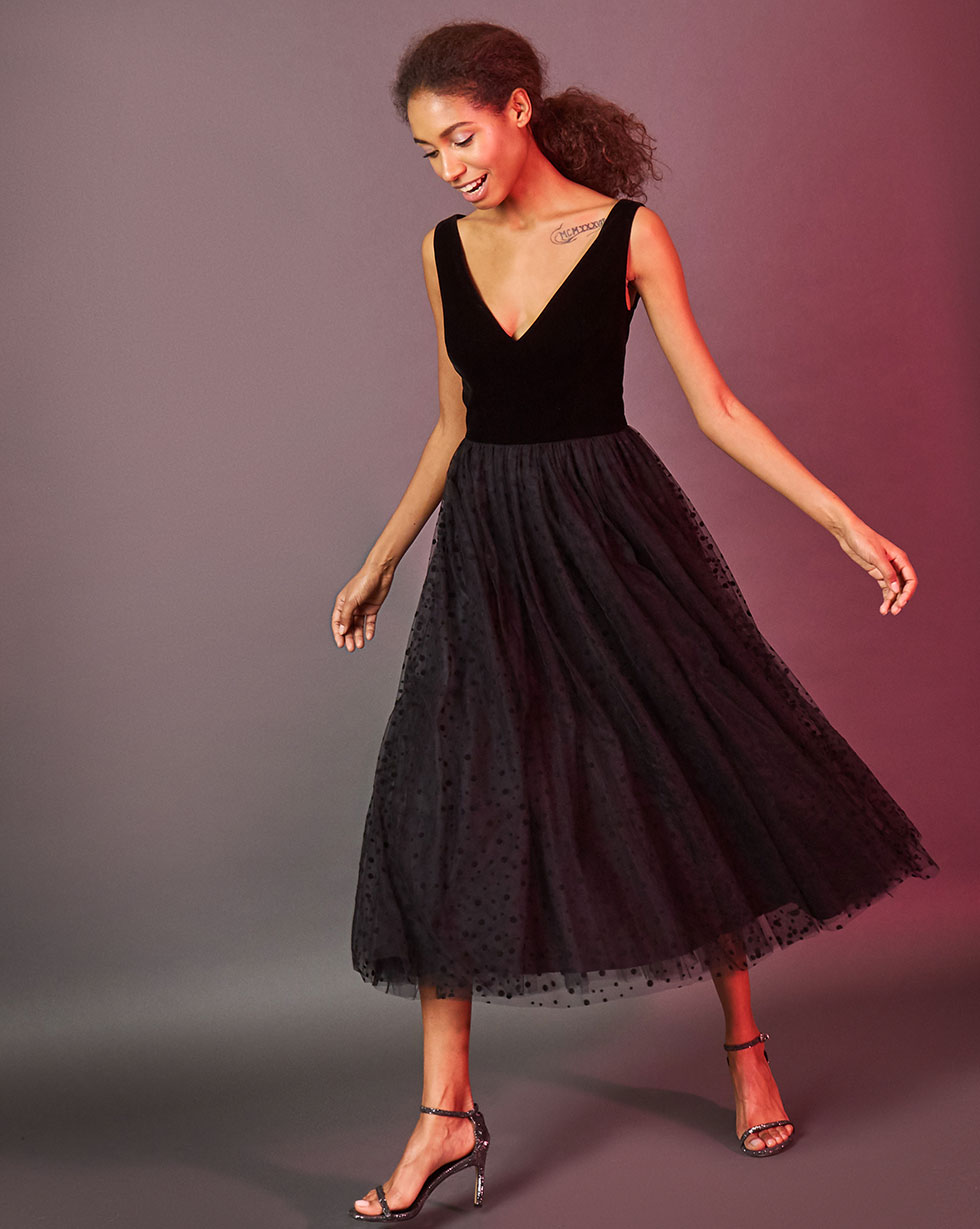 12Storeez Платье с юбкой из сетки (чёрный)