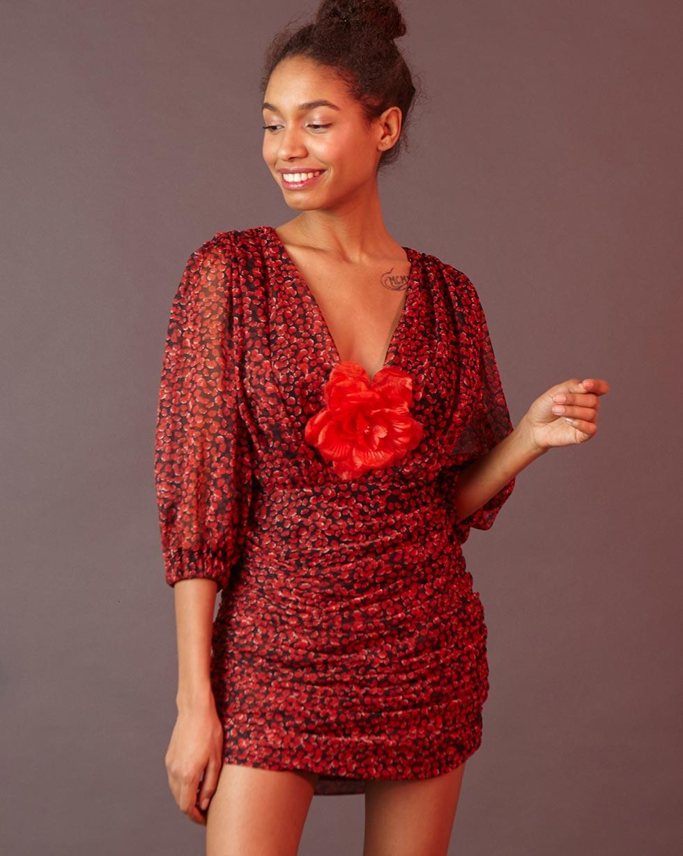 12Storeez Платье мини с драпировкой (чёрный  красный цветок)