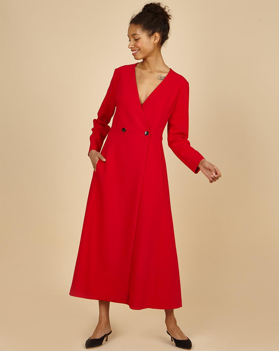 12Storeez Платье двубортное (алый) полуприлегающее платье на подкладке roxie