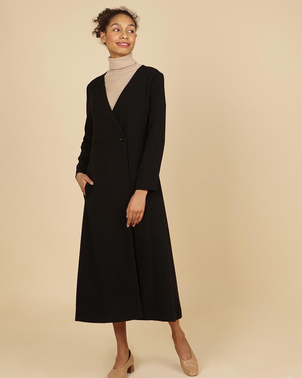 12Storeez Платье двубортное (чёрный) полуприлегающее платье на подкладке roxie