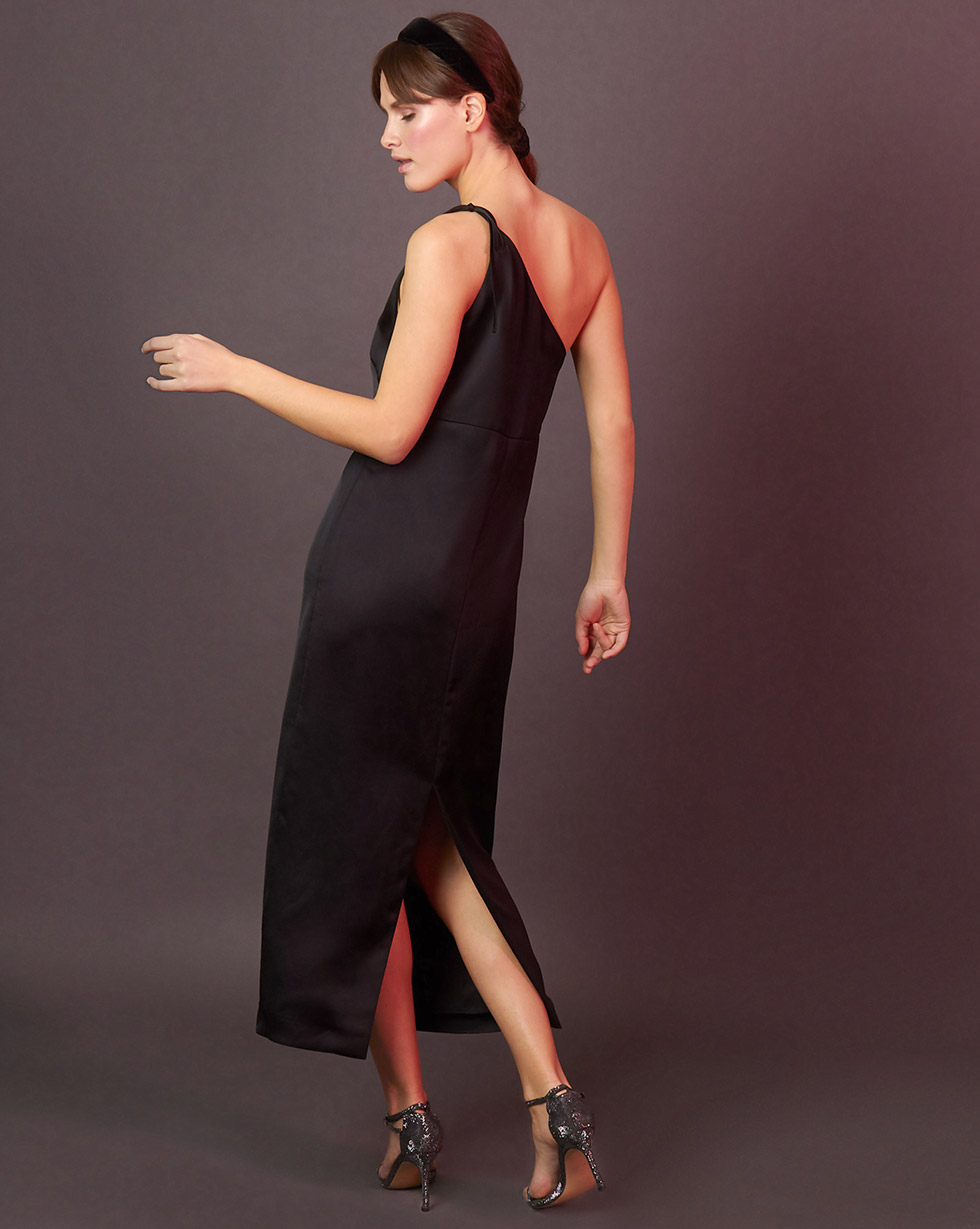 12Storeez Платье комбинация на одно плечо (чёрный) 12storeez платье комбинация на одно плечо чёрный