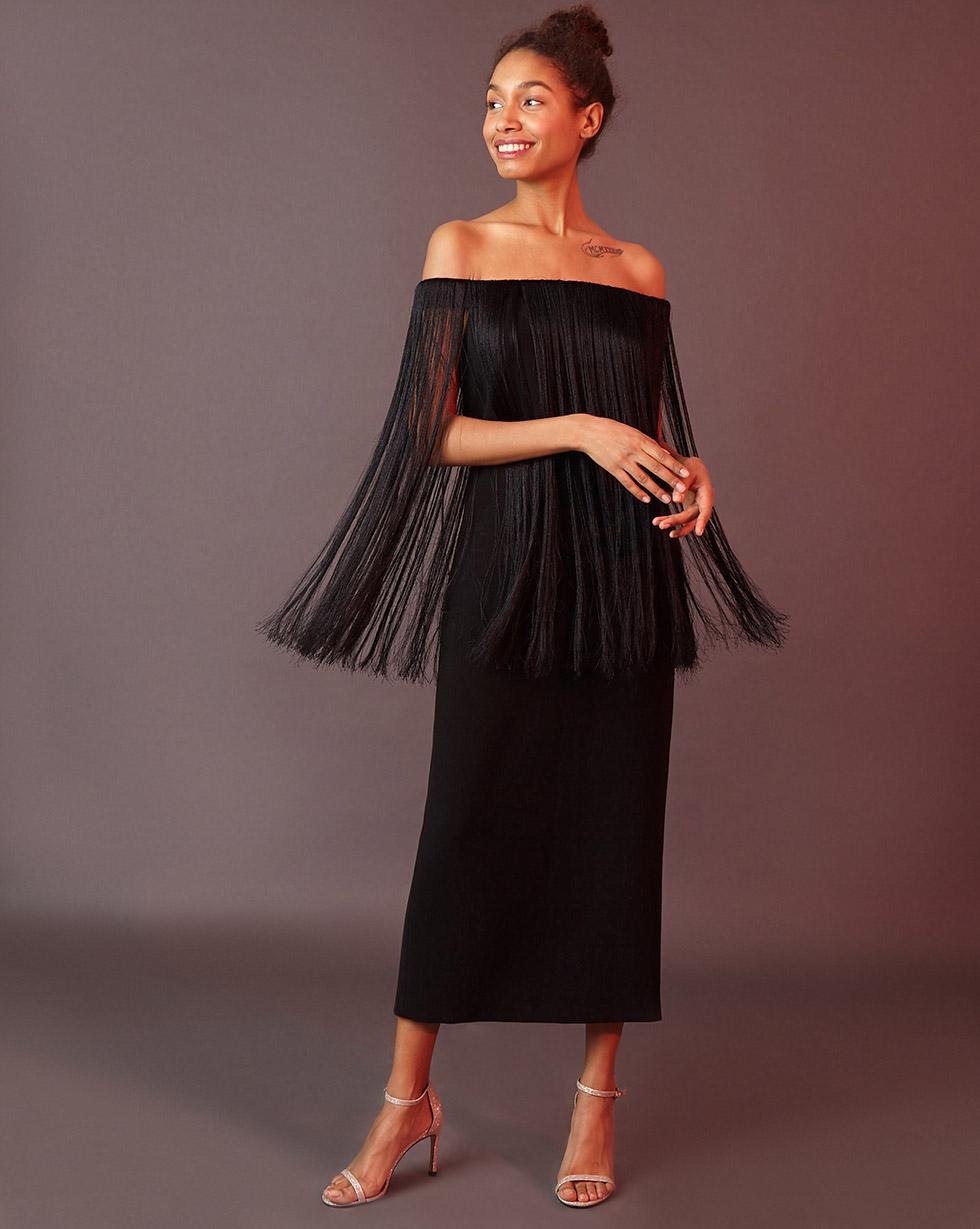 12Storeez Платье прямое с бахромой (чёрный)