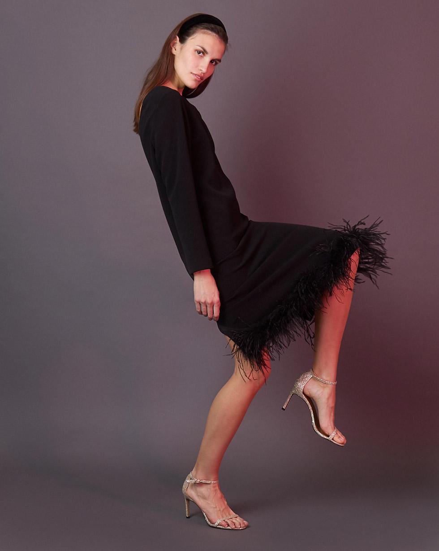 12Storeez Платье миди с боа (чёрный)