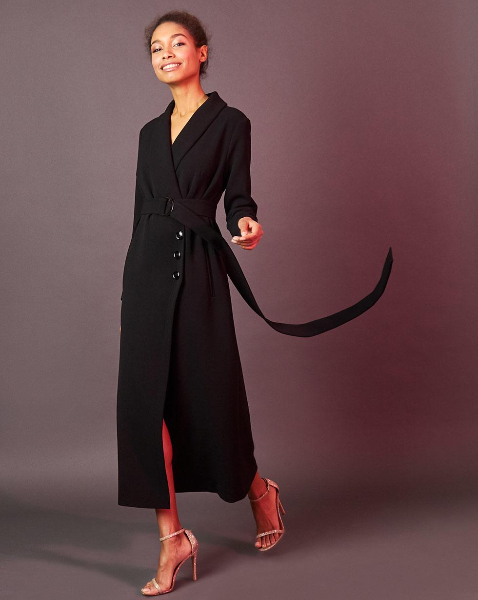 12Storeez Платье миди с запахом (чёрный) 12storeez платье миди на поясе с карманами серо голубой