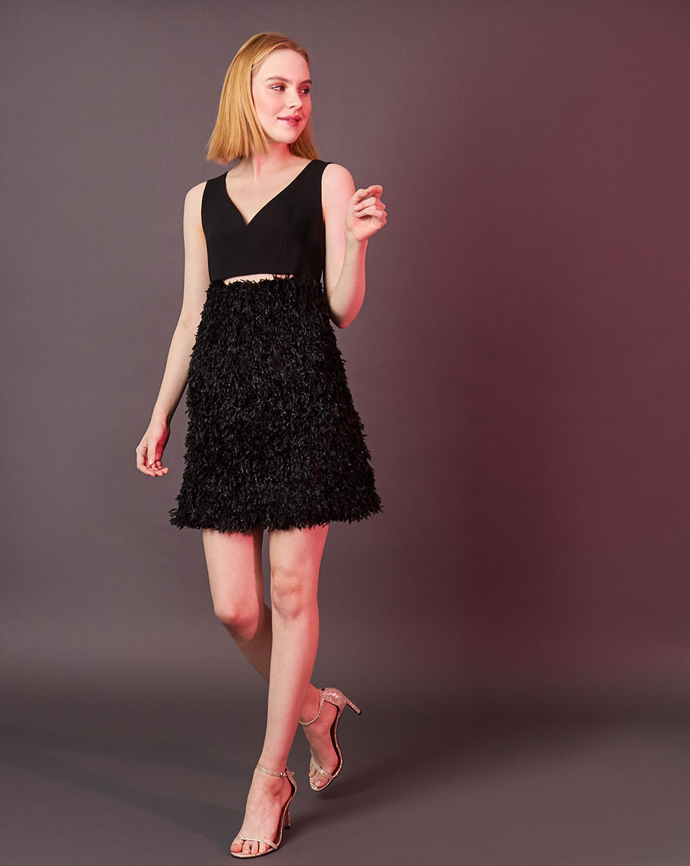 """12Storeez Платье мини из ткани под """"страуса"""" (чёрный)"""