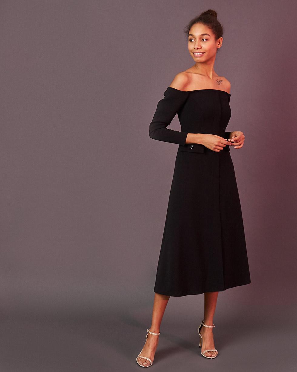 12Storeez Платье приталенное с открытыми плечами (чёрный) ih 4700