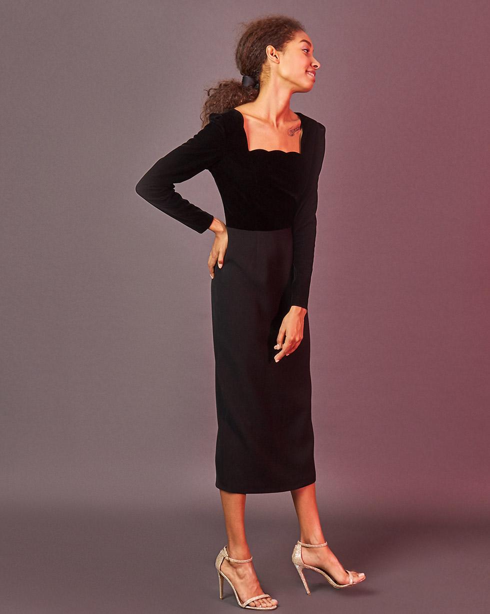 12Storeez Платье с бархатным лифом (чёрный)