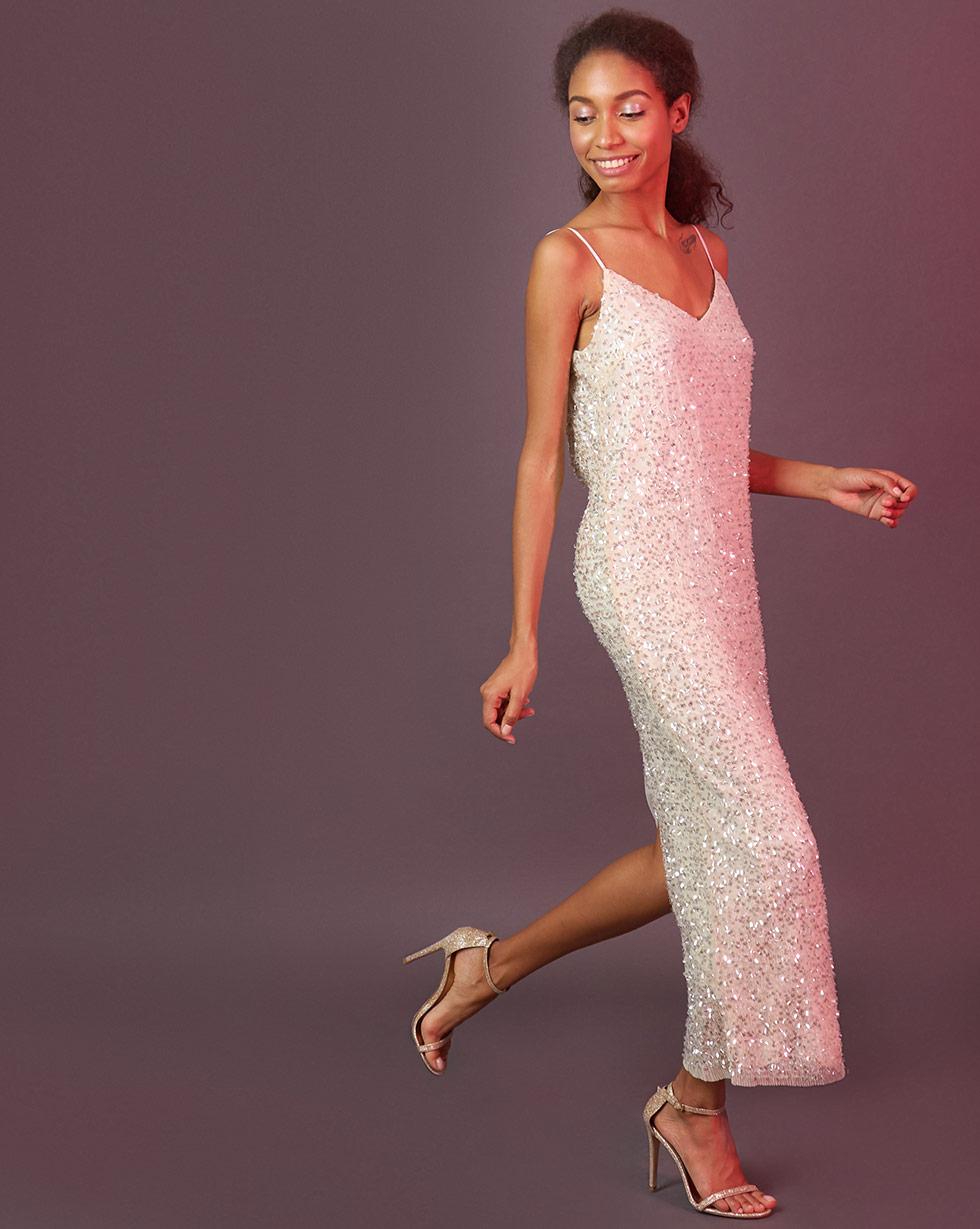 12Storeez Платье из ткани гофре с пайетками (бежевый)