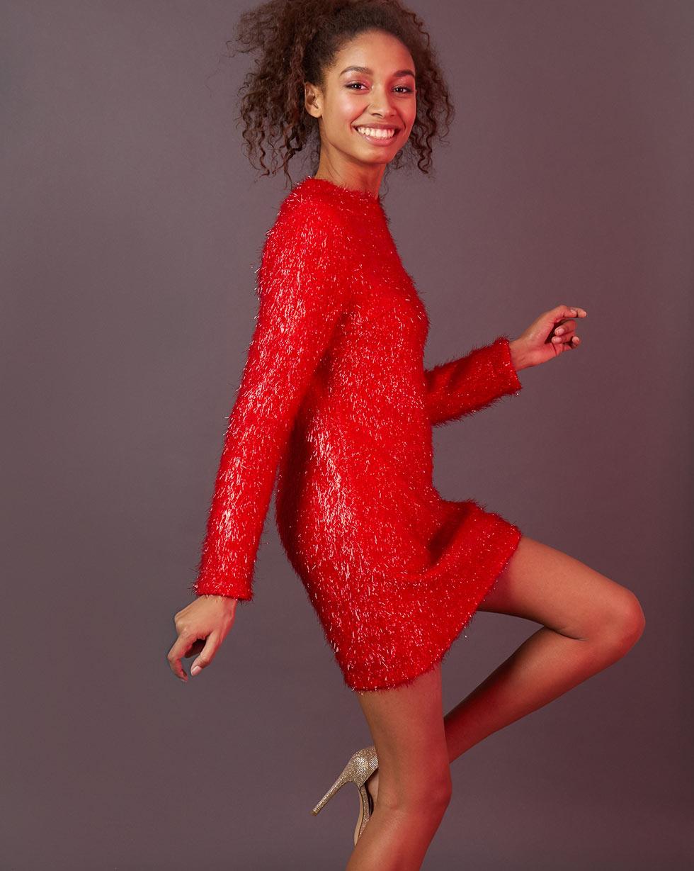 12Storeez Платье мини из ткани травка (красный)