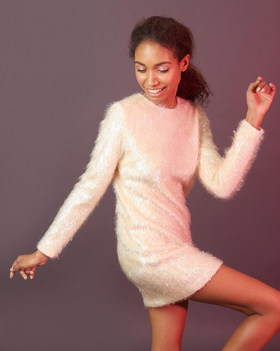 12Storeez Платье мини из ткани травка (молочный) платье bewear платья и сарафаны мини короткие