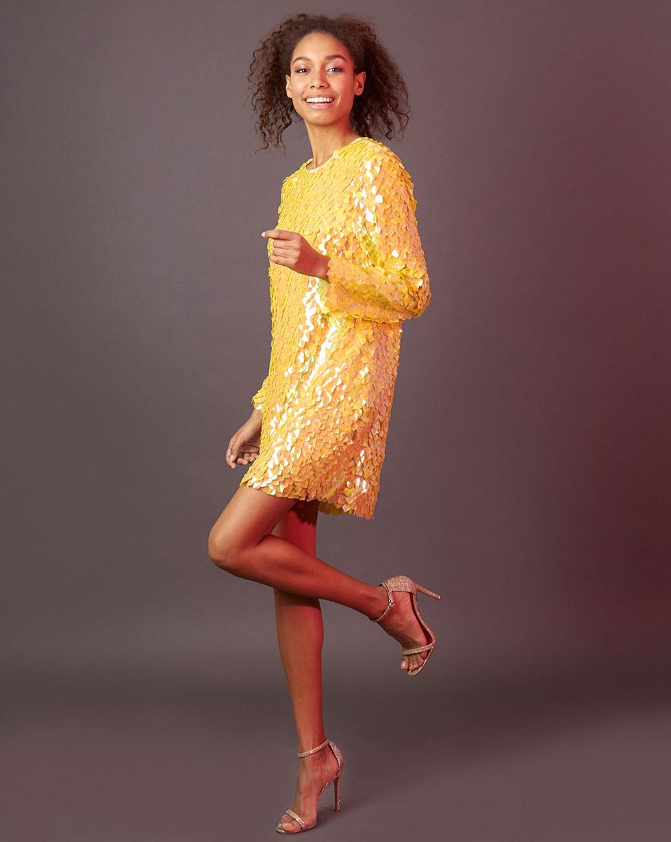 12Storeez Платье мини из пайеток (жёлтый) малого сексуально женщин от летних моды случайных плечо мини платье