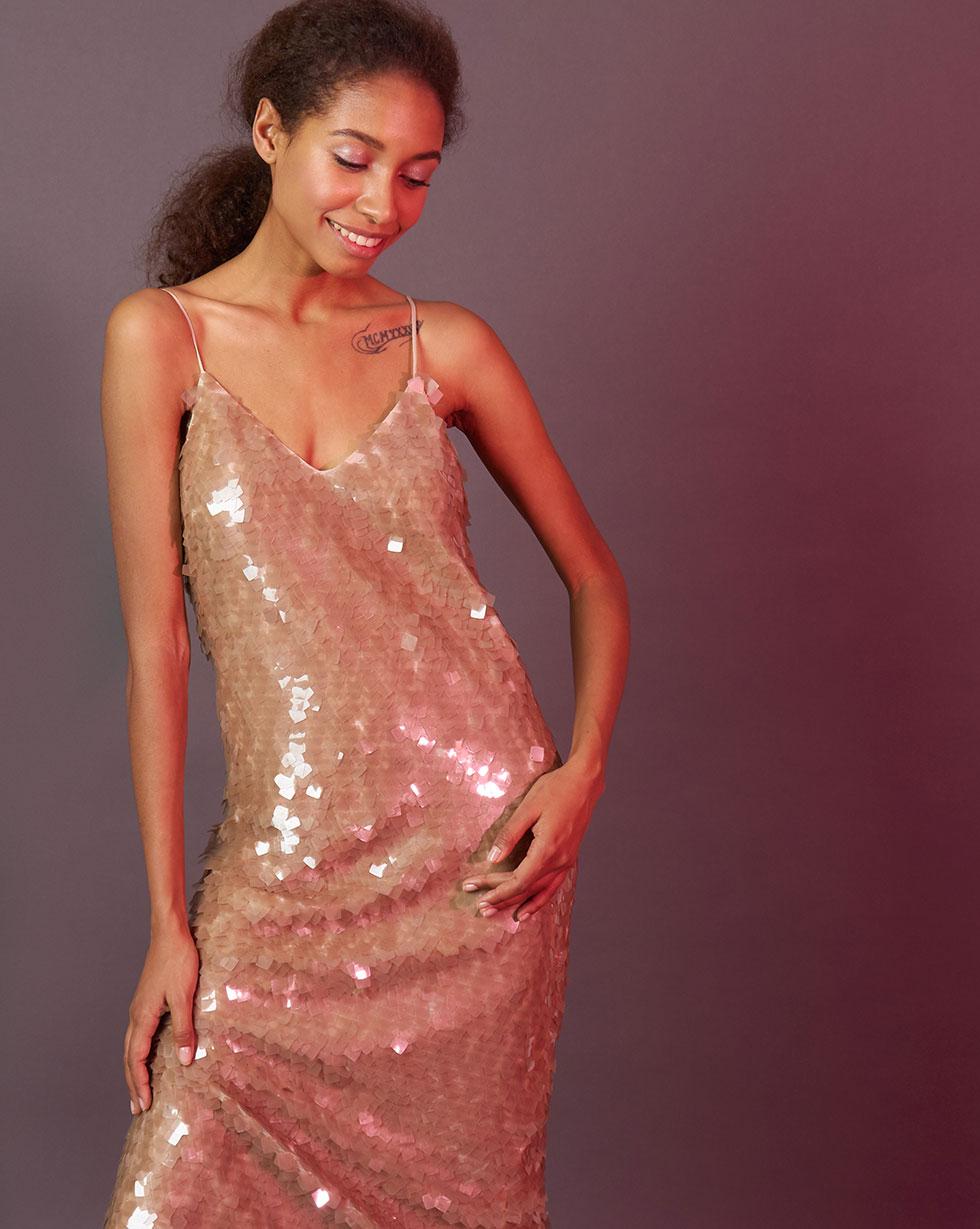 12Storeez Платье из пайеток (кофейный) 12storeez платье комбинация из крупных пайеток чёрное