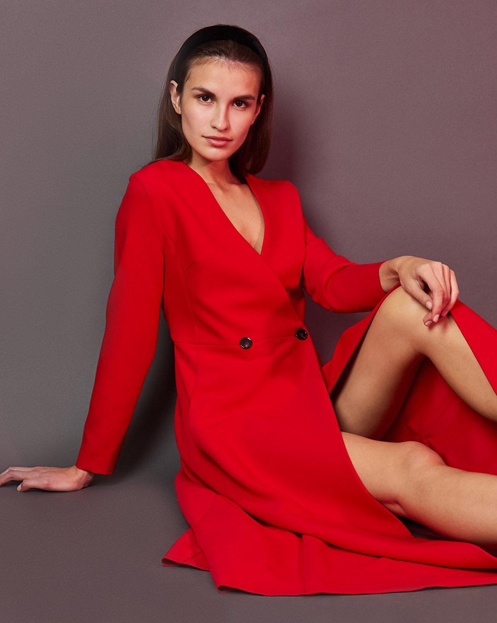 12Storeez Платье двубортное (красный) полуприлегающее платье на подкладке roxie