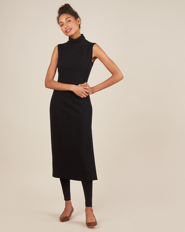 12Storeez Платье миди без рукавов с разрезом (черный)
