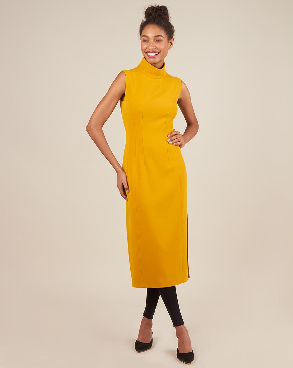 12Storeez Платье миди без рукавов с разрезом (желтый) цена 2017