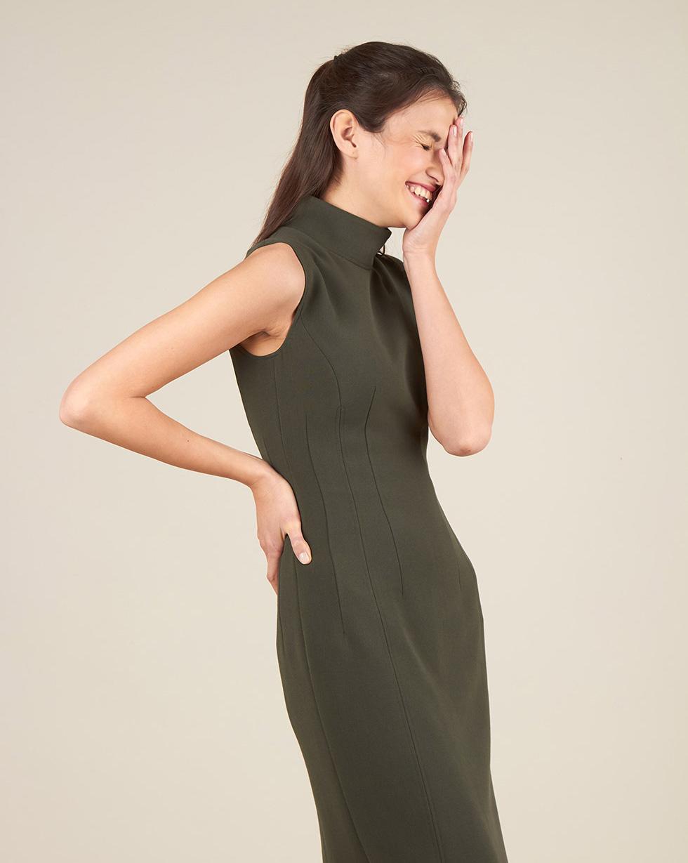 12Storeez Платье миди без рукавов с разрезом (темно-зеленый)