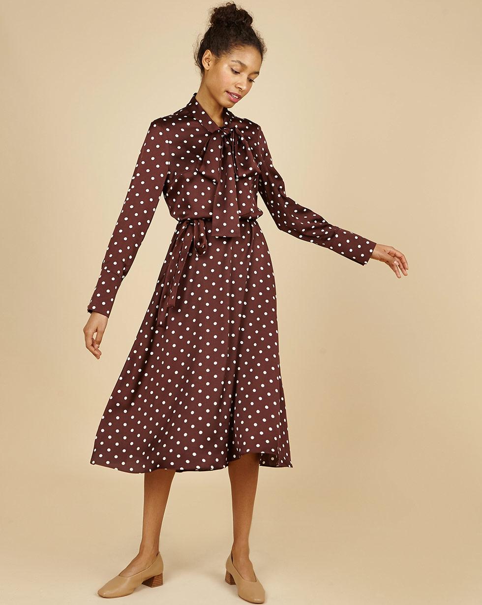 12Storeez Платье миди с бантом в горох (темно-коричневый) 12storeez платье миди с бантом в горох светло коричневый