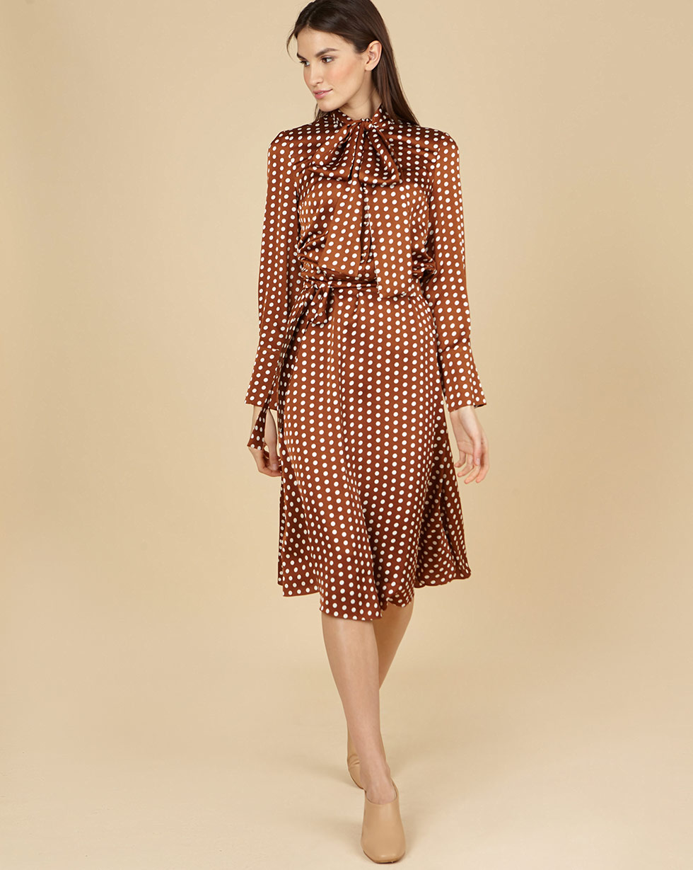 12Storeez Платье миди с бантом в горох (светло-коричневый) 12storeez платье миди с бантом в горох светло коричневый
