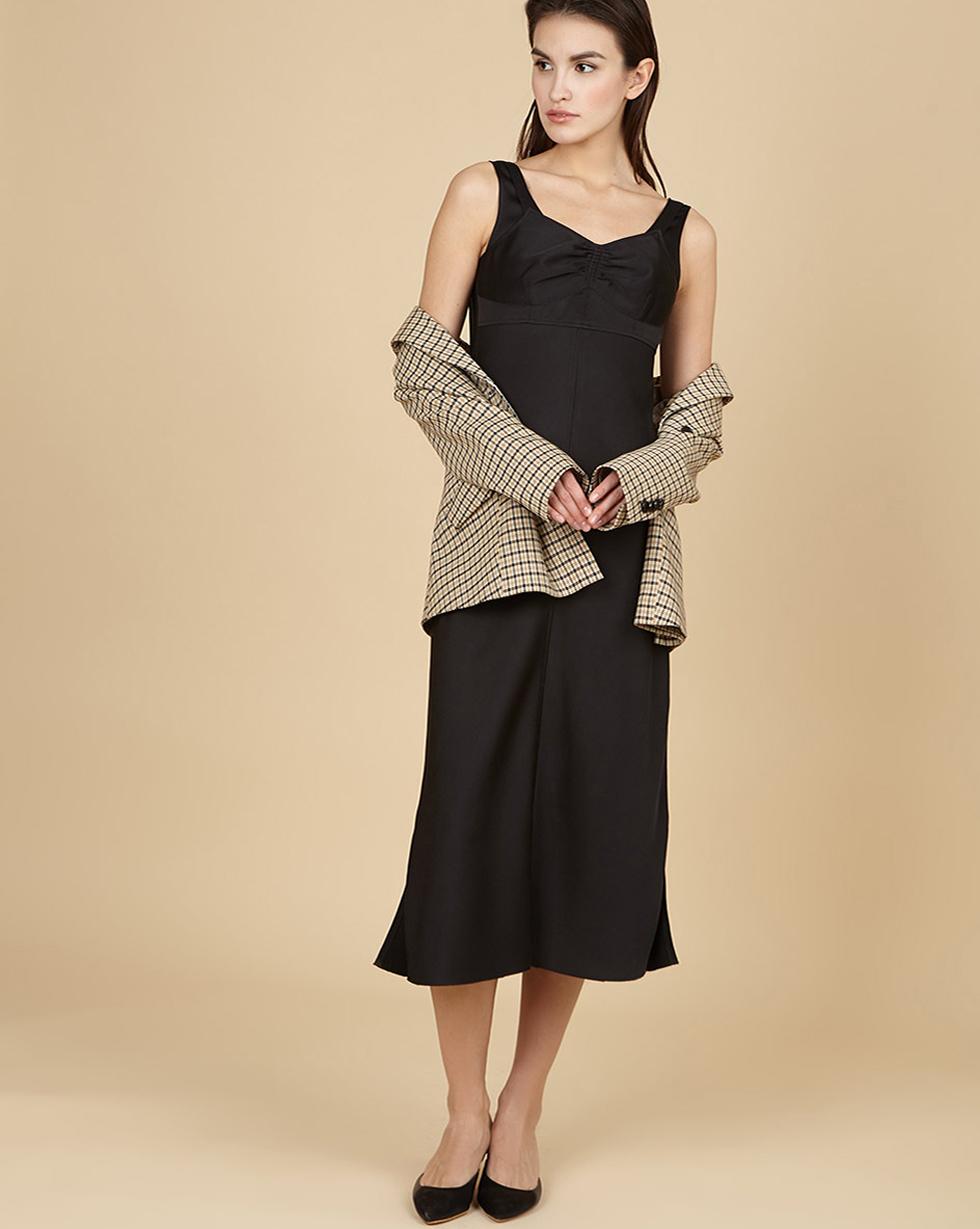 12Storeez Кoмбинация на широких бретелях (черный) 12storeez платье на широких бретелях из трикотажа бежевый