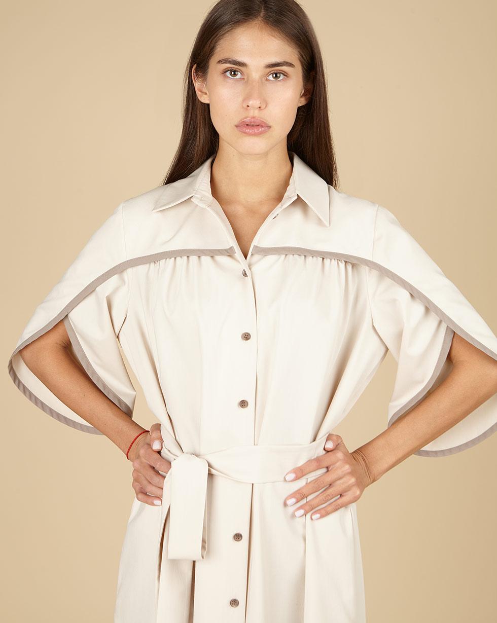12Storeez Платье-рубашка с отделкой на рукавах (молочный)