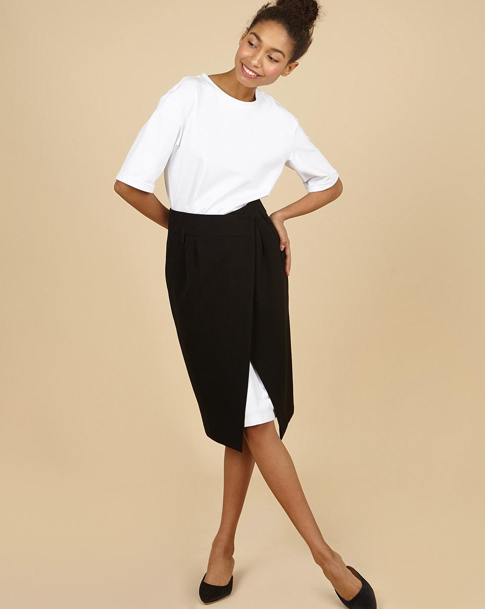 12Storeez Платье со съёмной юбкой (чёрно-белый)