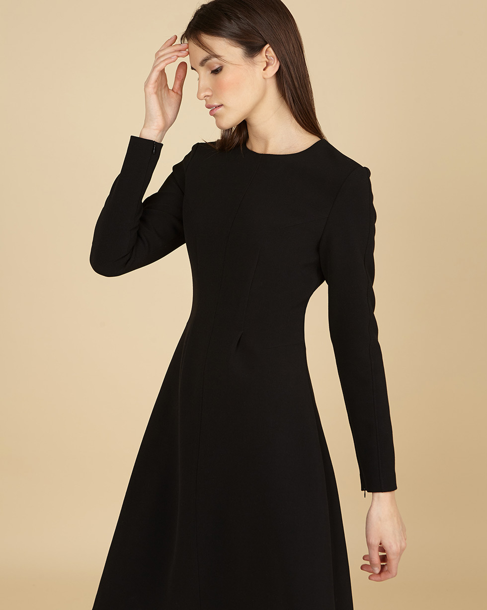12Storeez Платье приталенное с длинными рукавами (чёрный) цена