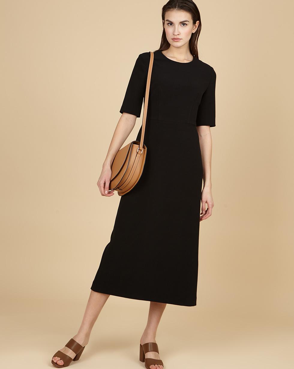 12Storeez Платье приталенное с коротким рукавом (чёрный) двухслойное платье с коротким рукавом european culture двухслойное платье с коротким рукавом