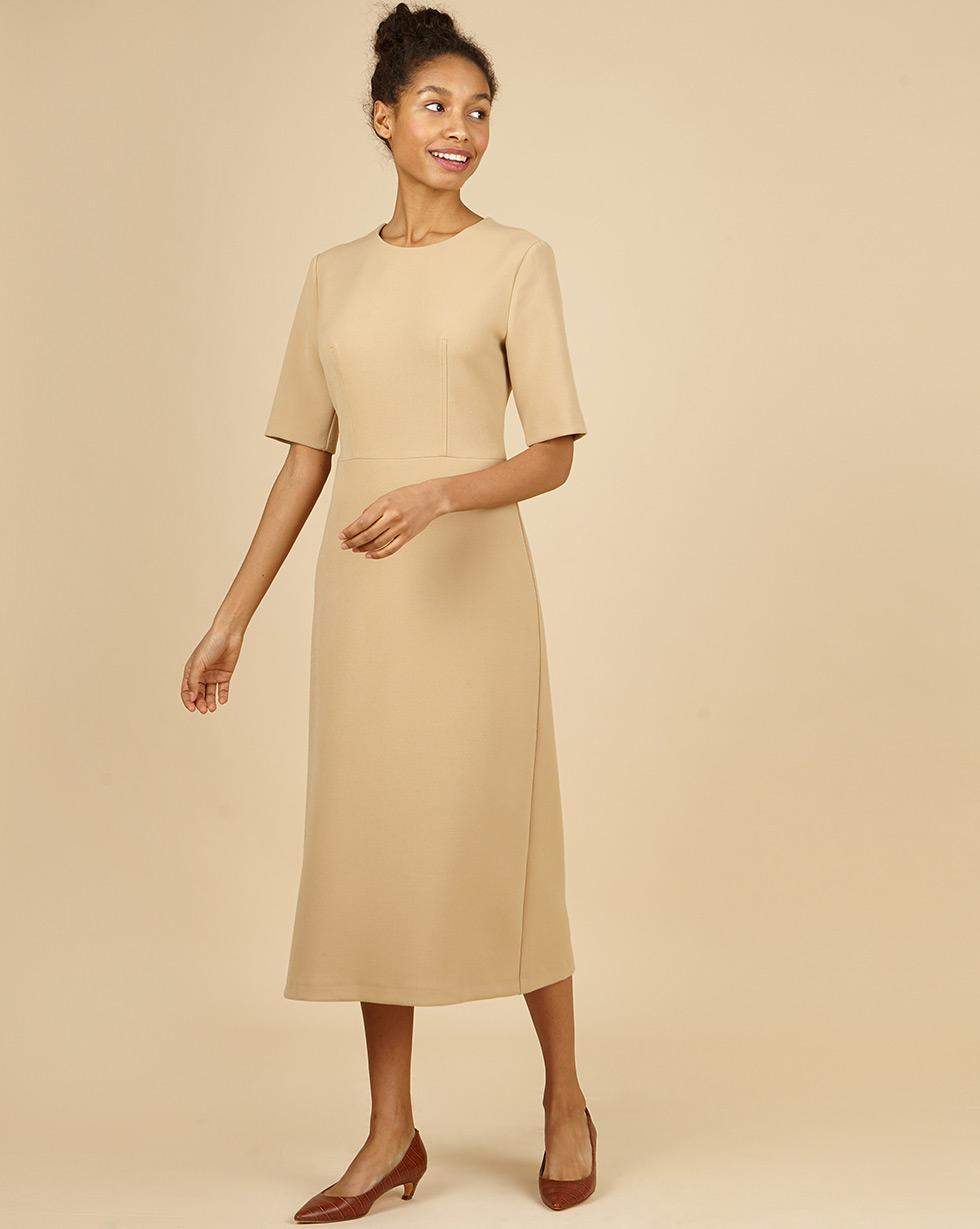 12Storeez Платье приталенное с коротким рукавом (бежевый) приталенное платье с рукавом 3 4 eva davidova приталенное платье с рукавом 3 4