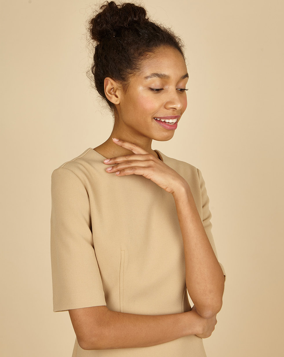12Storeez Платье приталенное с коротким рукавом (бежевый) двухслойное платье с коротким рукавом european culture двухслойное платье с коротким рукавом