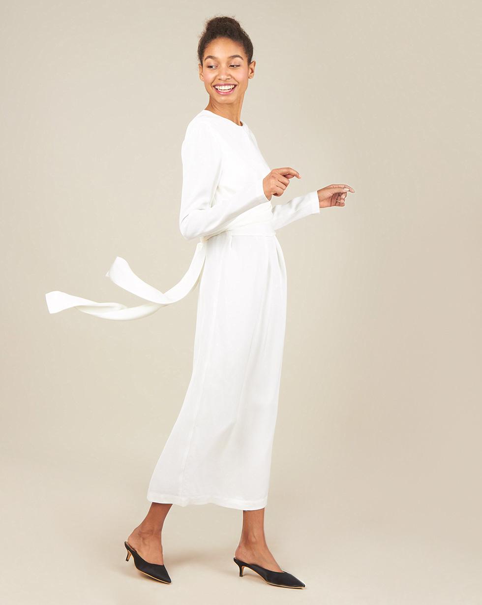 12Storeez Платье миди с завязками на талии (молочный)