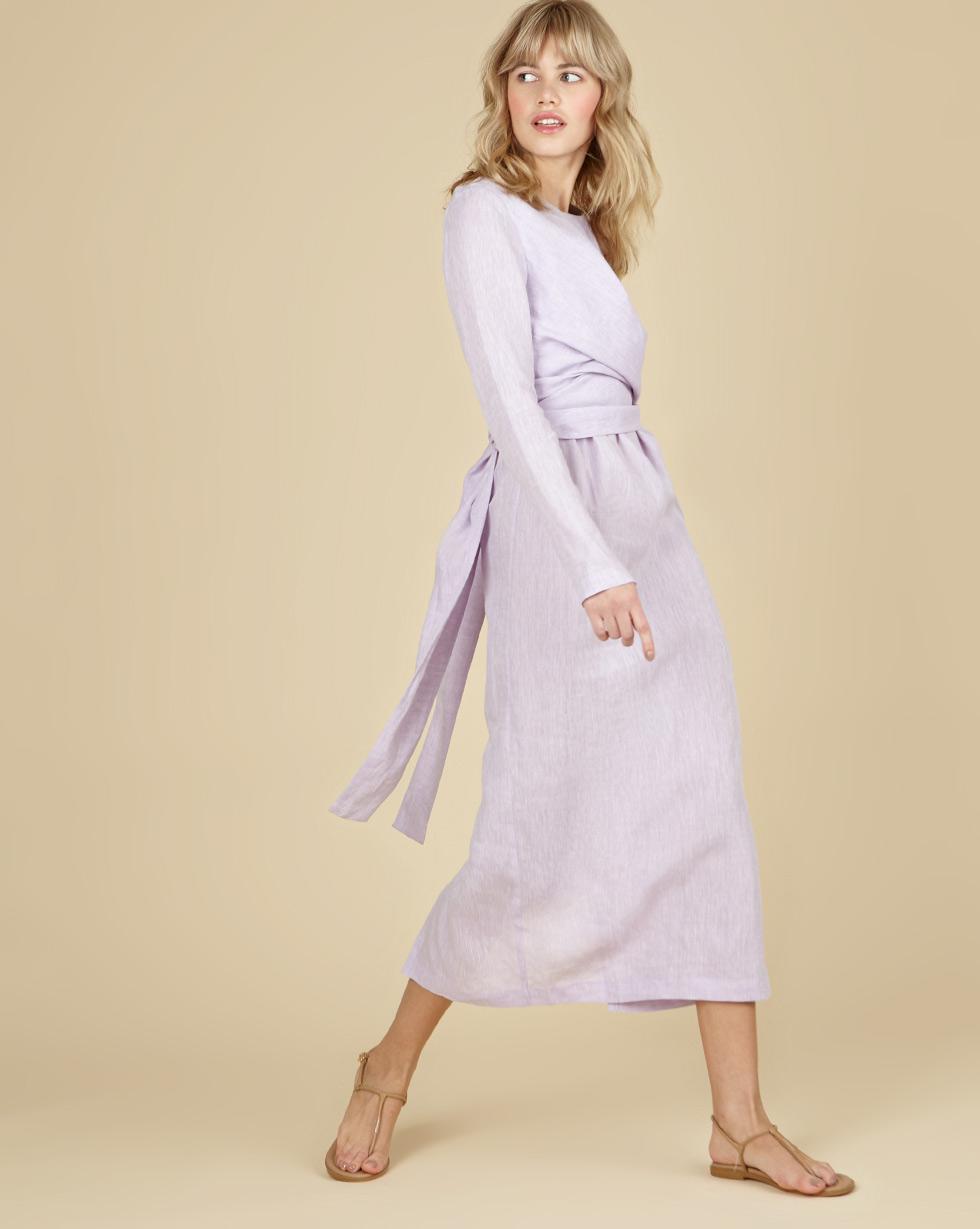 12Storeez Платье миди с завязками на талии изо льна (сиреневый)