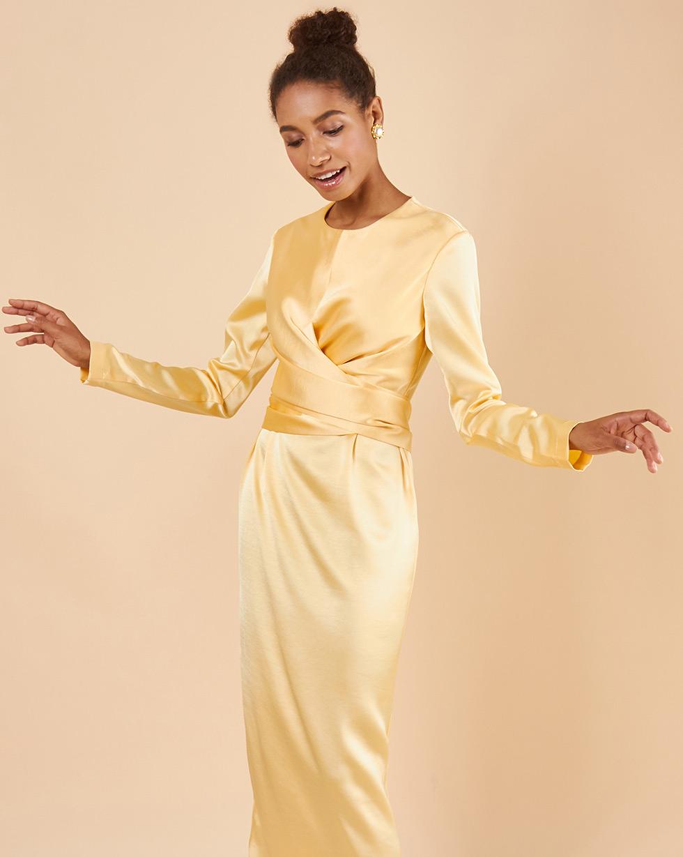 12Storeez Платье миди с завязками на талии (желтый)