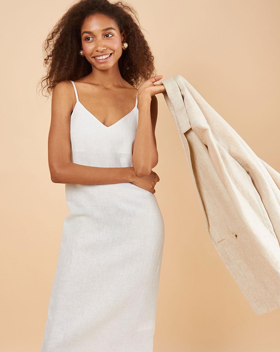 12Storeez Платье-комбинация миди изо льна (молочный) 12storeez платье комбинация миди изо льна молочный
