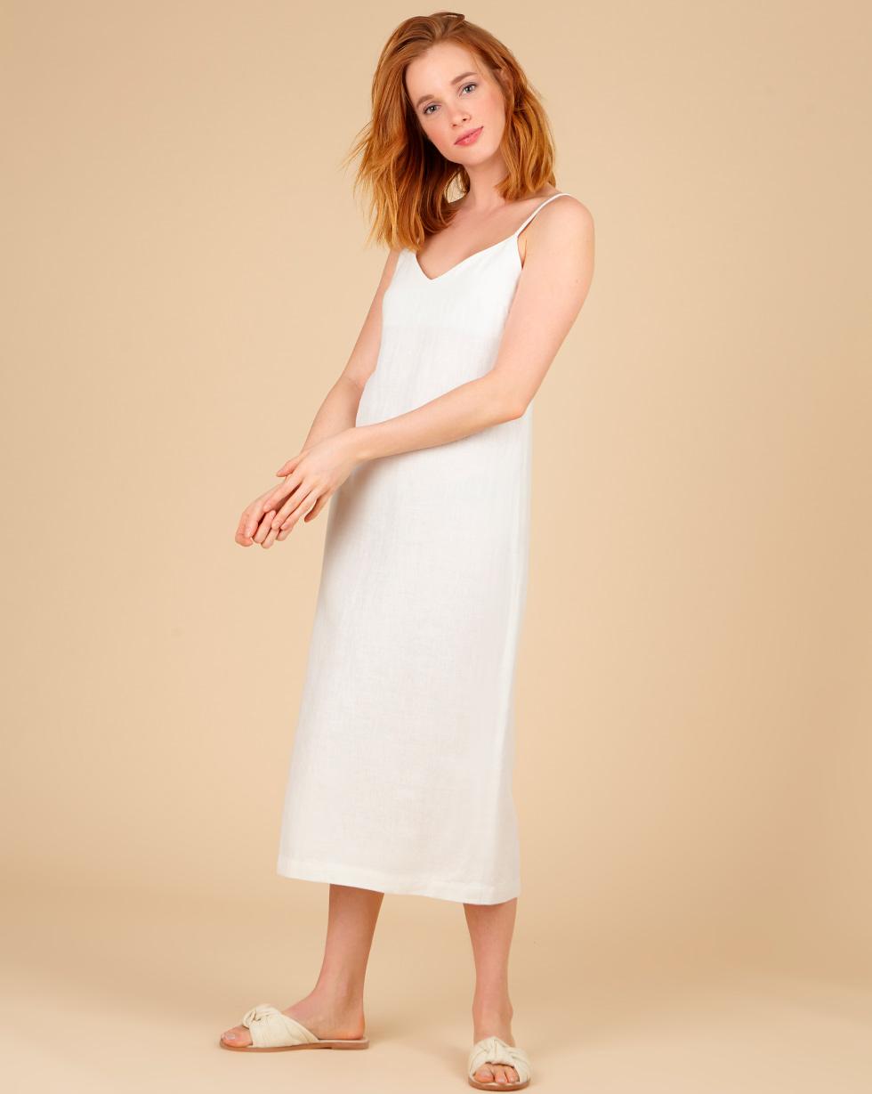 12Storeez Платье-комбинация миди изо льна (молочный)
