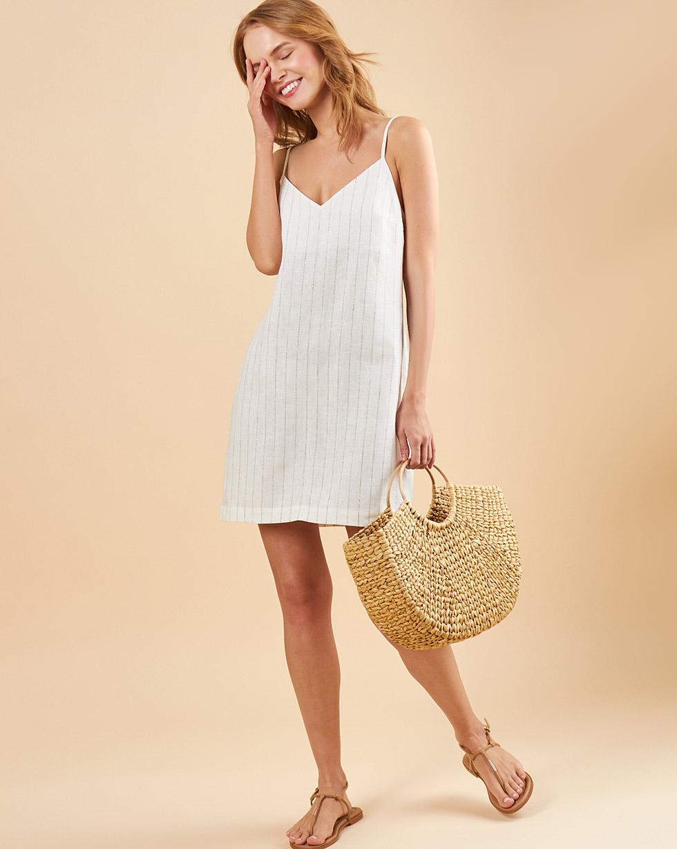 12Storeez Комбинация мини изо льна (молочный в полоску) 12storeez платье комбинация миди изо льна молочный