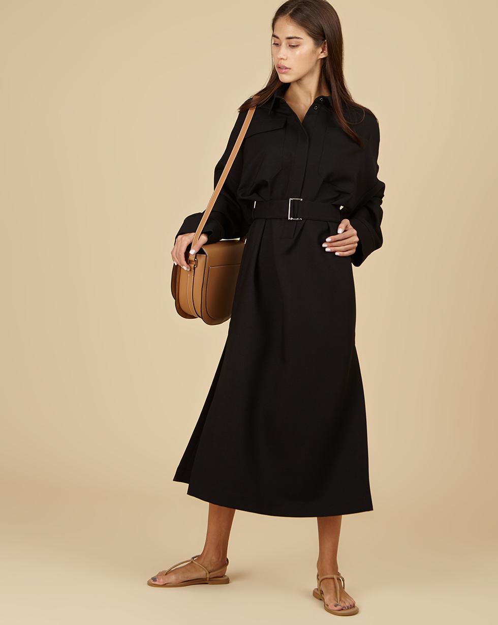 12Storeez Платье прямое с накладными карманами и поясом (чёрный)