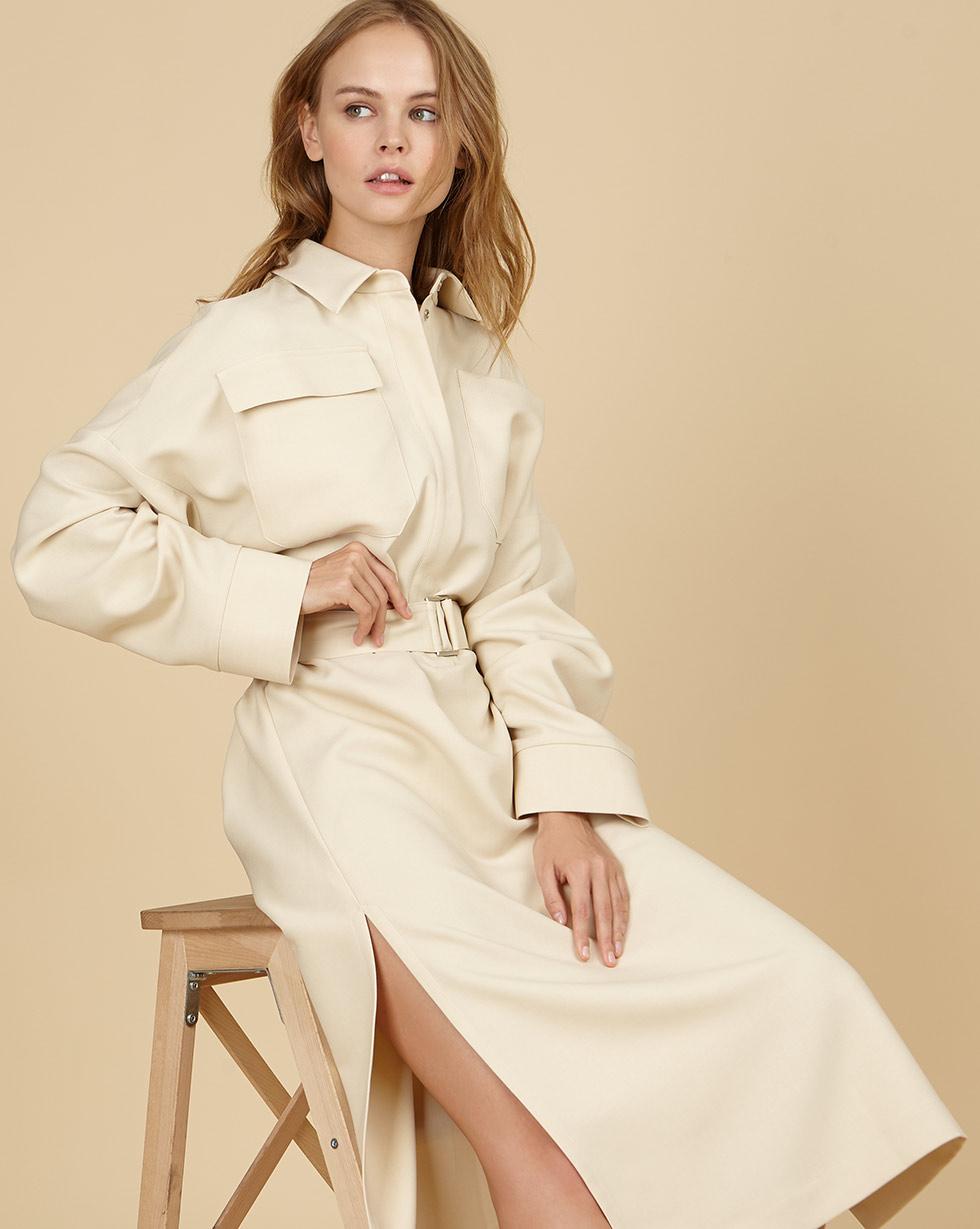 12Storeez Платье прямое с накладными карманами и поясом (бежевое)