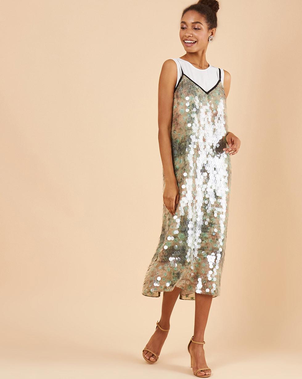 12Storeez Платье из пайеток с нижним платьем-майкой (пайетки прозрачные на зелёном фоне)