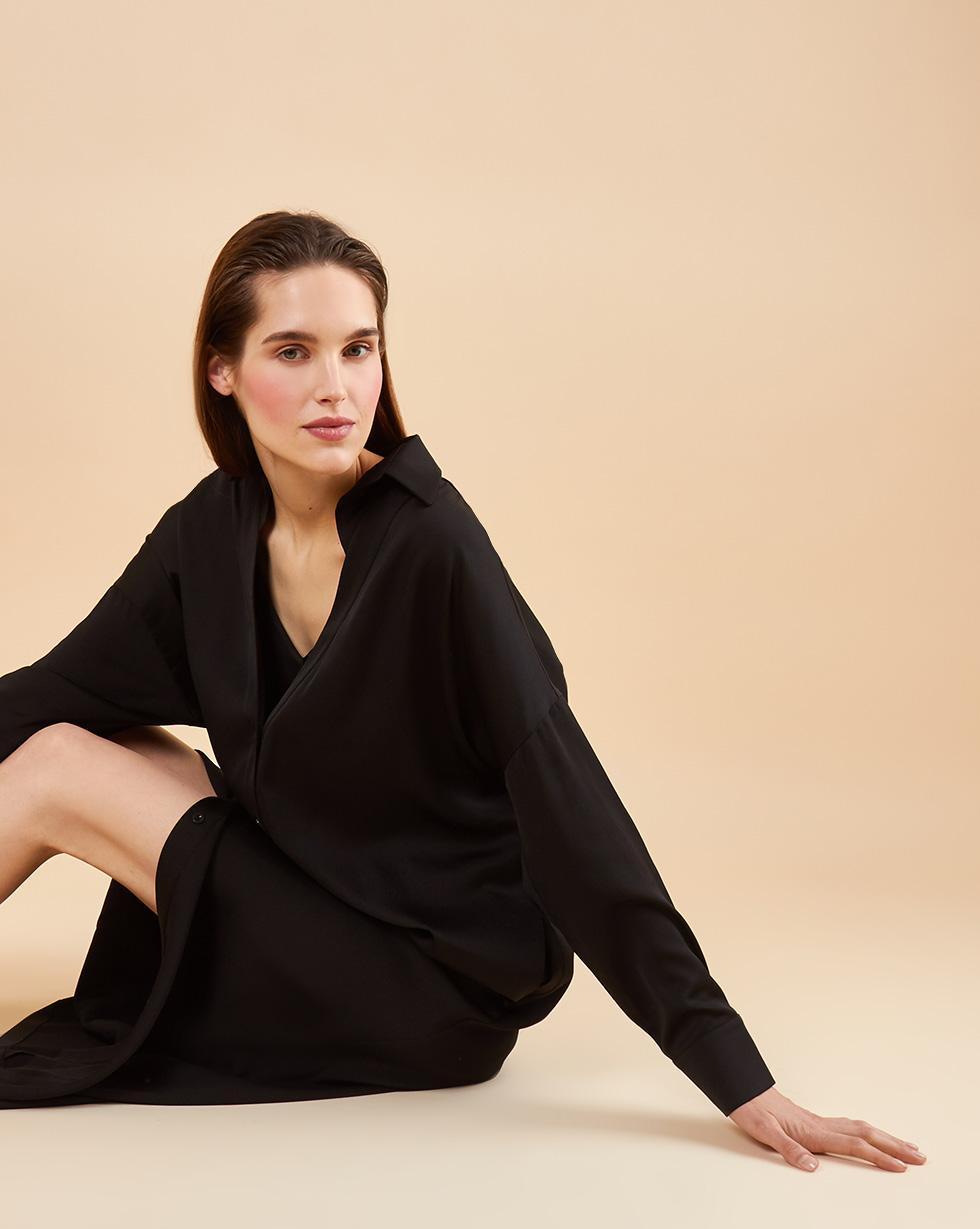 12Storeez Платье рубашка с комбинацией (чёрный)