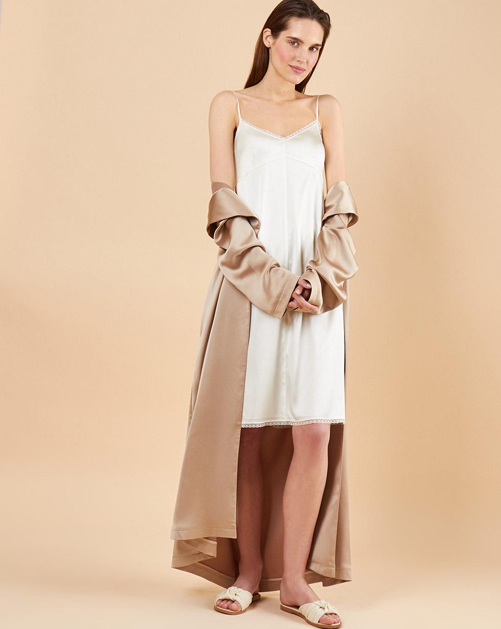 12Storeez Комбинация миди с кружевом (молочный) 12storeez платье комбинация миди изо льна молочный