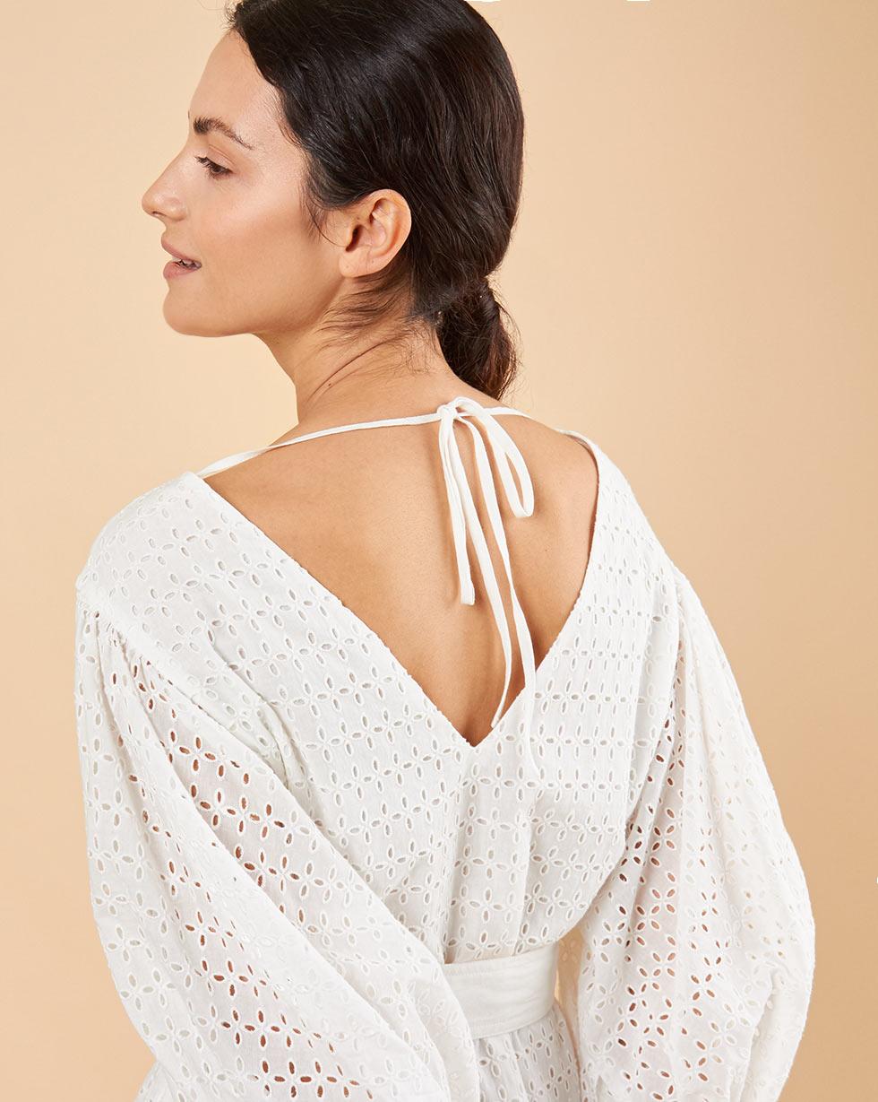 12Storeez Платье из шитья с объёмными рукавами с поясом (белый)
