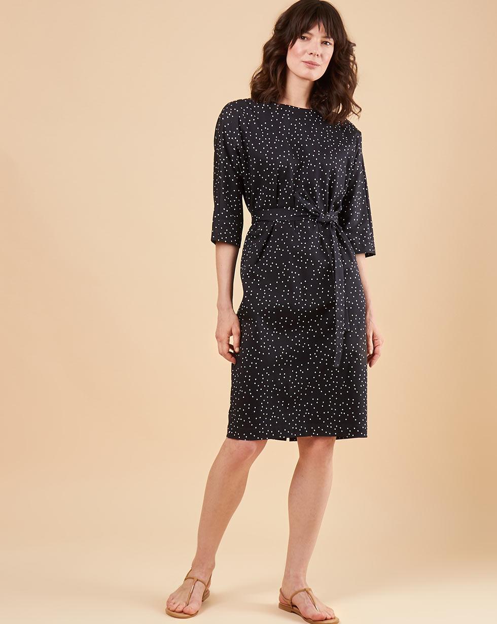 12Storeez Платье мини с вырезом и пуговицами сзади (черный в белый горох) 12storeez платье мини с объемными рукавами белый в черный горох